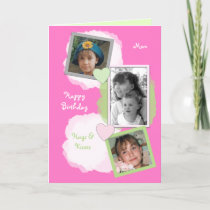 Pink Mom Birthday Photo greeting Card