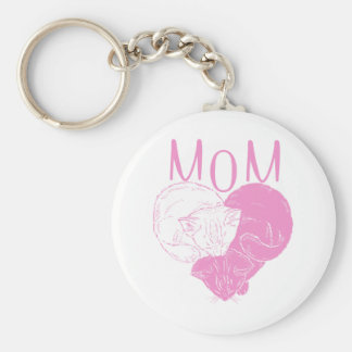 Pink MOM Heart Cats Basic Round Button Keychain