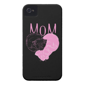 Pink MOM Heart Cats iPhone 4 Cases