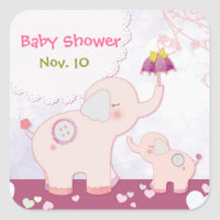 Pink Mom n Baby Elephants Baby Shower Square Sticker