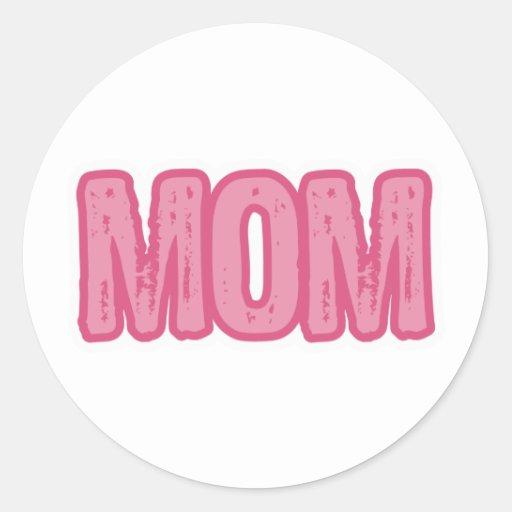 Pink Mom Round Stickers