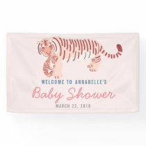 Pink Mom Tiger & Cub Baby Shower Banner