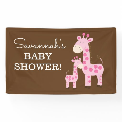 Pink Mommy and Baby Giraffe Shower Banner