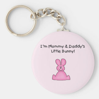 Pink Mommy and Daddy's Bunny T-shirts and Gifts Key Chains