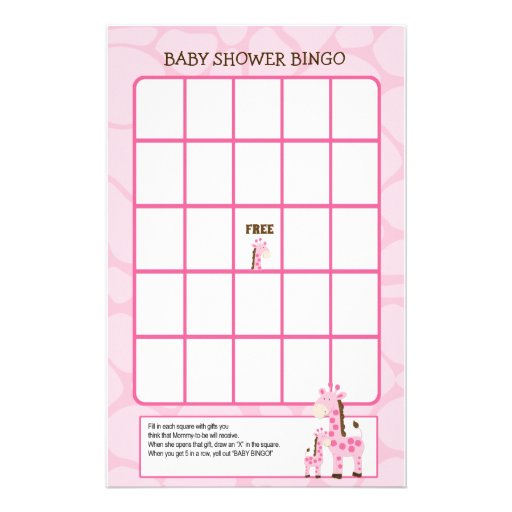 Pink Mommy Giraffe Baby Shower Bingo Game Stationery