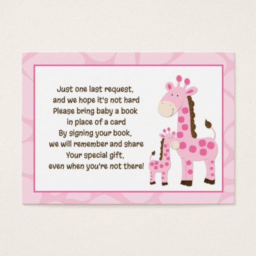 Pink Mommy Giraffe Book Request Cards