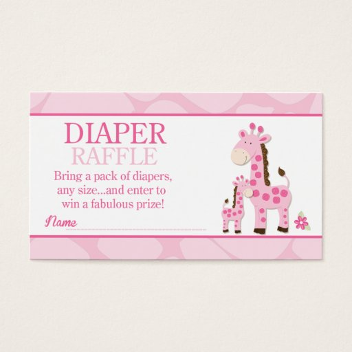 Pink Mommy Giraffe Girl Baby Shower Diaper Raffle Business Card