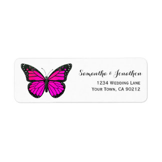 Pink Monarch Butterfly Label