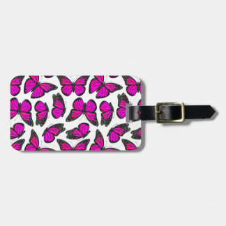 Pink Monarch Butterfly Pattern Luggage Tag