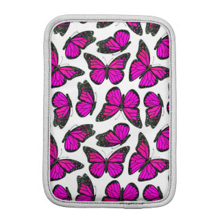 Pink Monarch Butterfly Pattern Sleeve For iPad Mini