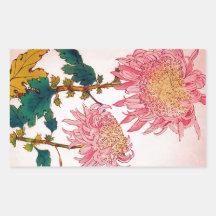 Pink Mondrian Floral Study Rectangular Stickers