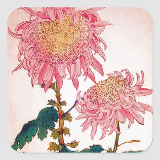 Pink Mondrian Floral Study Square Sticker