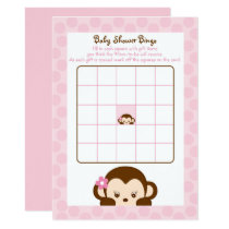 Pink Monkey Baby Shower Bingo Card