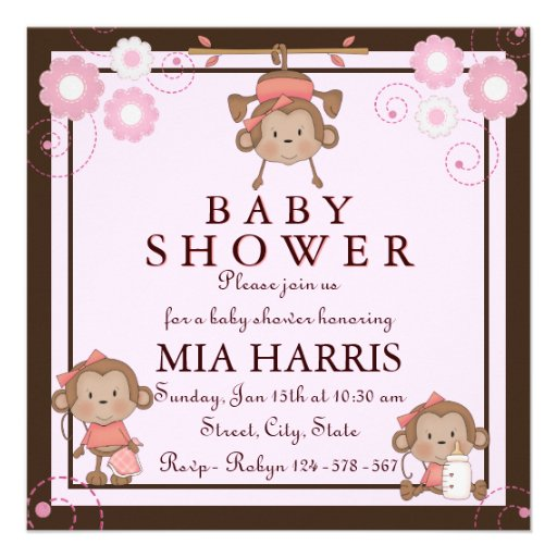 pink monkey baby shower invitation square invitation card