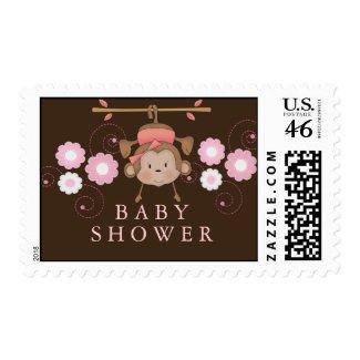 Pink Monkey Baby Shower Stamp stamp