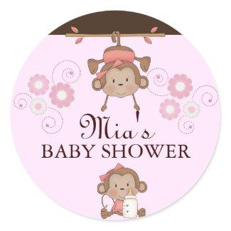 Pink Monkey Baby Shower Sticker sticker