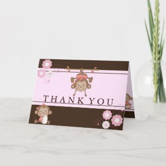 Pink Monkey Baby Shower Thank You Card card