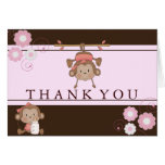 Pink Monkey Baby Shower Thank You Card