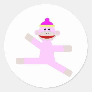 Pink Monkey Classic Round Sticker