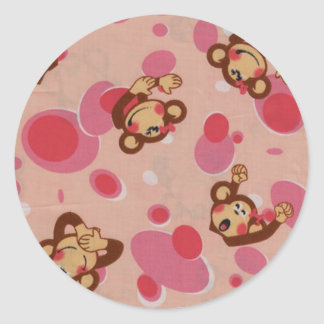 Pink Monkey Design Classic Round Sticker