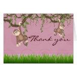 Pink Monkey Fun Thank You Card