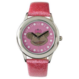 Pink Monkey Girls Glitter Watch