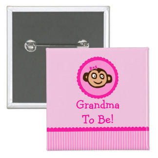 """Pink Monkey """"Grandma To Be"""" Baby Shower Button"""