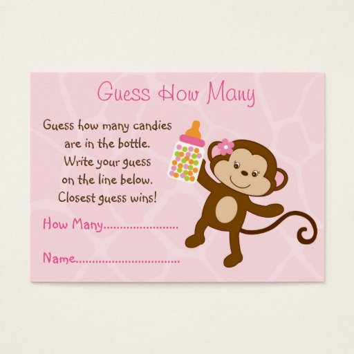 Pink Monkey Guess How Many Cards
