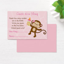 Pink Monkey Guess How Many Game Business Card