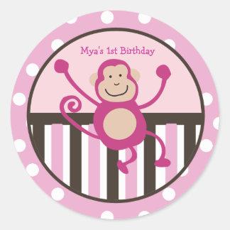 Pink Monkey Junkie Birthday Favor Stickers / seals