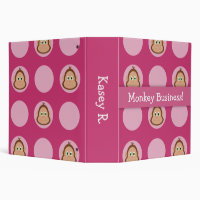 Pink Monkey Pattern Back To School Binder