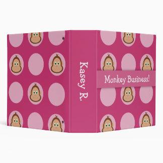 Pink Monkey Pattern Back To School Binder