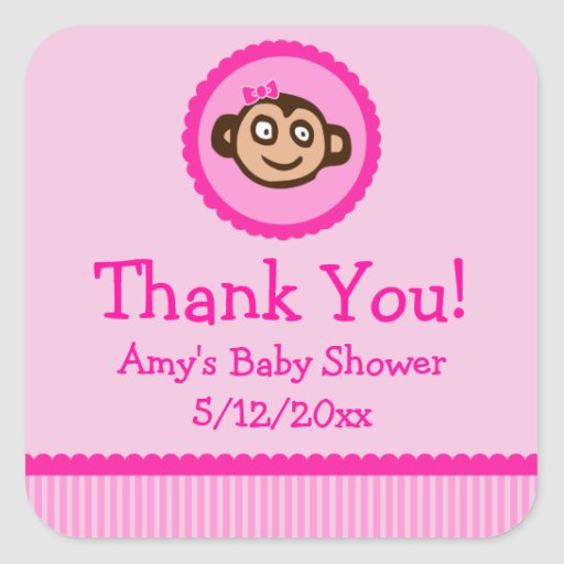 monkey personalized baby shower favor tags square stickers zazzle