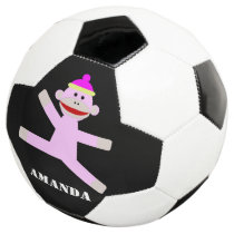 Pink monkey personalized soccer ball