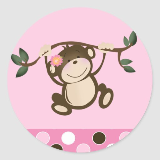 Pink Monkey Play Envelope Seals
