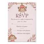 Pink Monkey RSVP 3.5x5 Paper Invitation Card