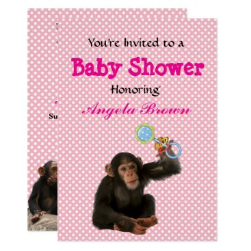 Professional Business Pink Monkey See, Monkey Do Custom Baby Shower Card