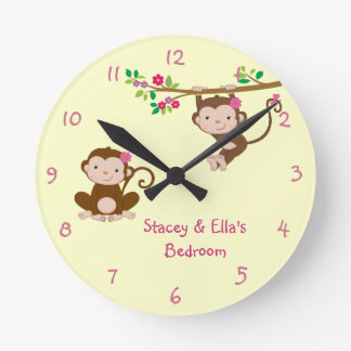 Pink Monkey Sisters Personalized Shared Bedroom Round Clock