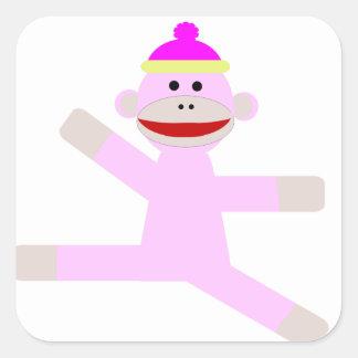 Pink Monkey Square Sticker