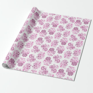 Pink Monochrome Flowers Wrapping Paper