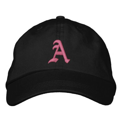 Pink Monogram A Embroidered Baseball Hat