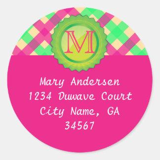 Pink Monogram Address Label Classic Round Sticker