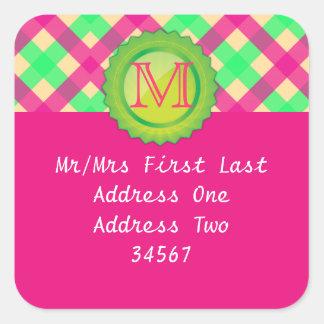 Pink Monogram Address Label Square Sticker
