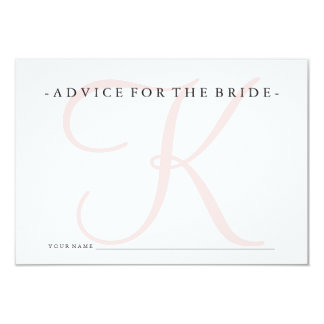 Pink Monogram Advice for the Bride Shower Game Card