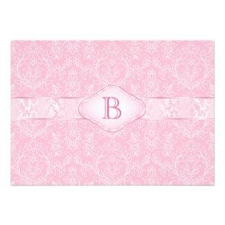 Pink Monogram Baby Shower Invitation