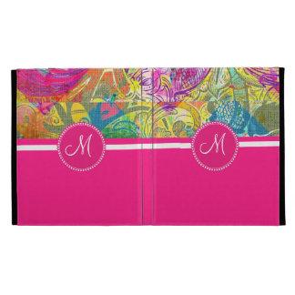 Pink Monogram Beautiful Abstract Flourish Swirls iPad Folio Case