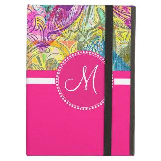 Pink Monogram Beautiful Abstract Flourish Swirls iPad Cases