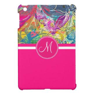 Pink Monogram Beautiful Abstract Flourish Swirls Cover For The iPad Mini