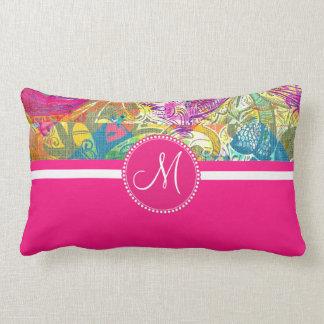 Pink Monogram Beautiful Abstract Flourish Swirls Pillows