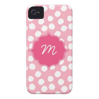 Pink Monogram Big Dots Quatrefoil iPhone 4 Cover
